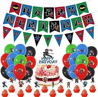 Ninja Birthday Party Supplies Decorations, Happy Birthday Banner Ninja Balloons,Cake Toppers,Red Black Blue Green Latex Ba...