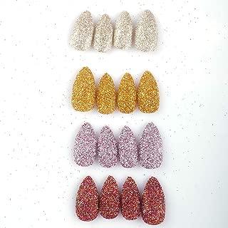 96Pcs Stiletto Fake Nails Full Cover Chrome Powder Glitter Bling Flakes Sequins Medium Length False Acrylic Nail Kits(Gold and Silver Glitter Series)