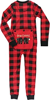 bear cheeks plaid adult flapjacks onesie