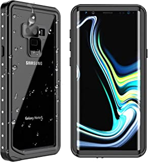 SPIDERCASE Samsung Galaxy Note 9 Waterproof Case, Shockproof Snowproof Dirtproof IP68 Certified Waterproof Case for Samsung Galaxy Note 9 (Black/Transparent)