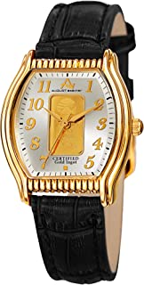 August Steiner AS8225 Certified Gold Ingot Bar Women's Watch – Genuine Leather Alligator Embossed Strap