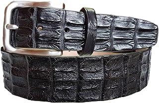 ESPERANTO Cintura coccodrillo schiena uomo e donna 4 cm,fodera vera pelle cuoio nabuk artigianale 4 cm accorciabile-nero