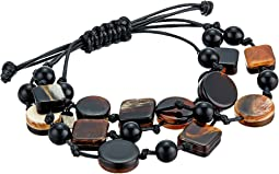 Kenneth Jay Lane 3 Row Black/Marble/Tortoise Multi Shape Bracelet