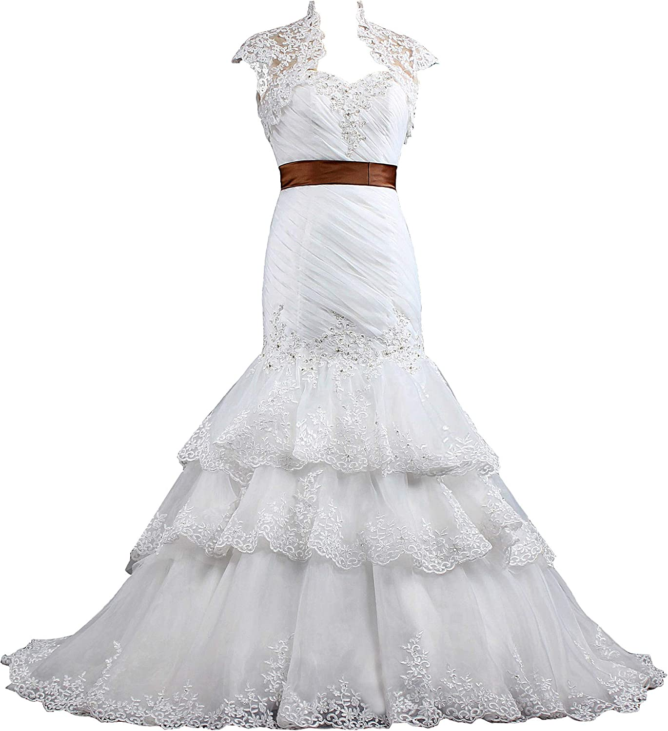 ANTS Women's Formal Mermaid Wedding Dresses Bridal Gowns with Jacket