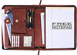 Zippered Genuine Leather Business Portfolio | Easy to Carry Organizer with Writing Pad Holder, Business Card and Pen Slots. IPAD/Tablet Holder and Flip-Closure Phone Pocket (Tan)