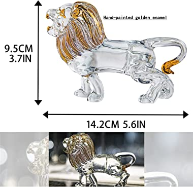 YU FENG Crystal Lion Figurine Collectible Blown Painted Glass Art Wildlife Animal Sculpture Ornament Handmade Crystal Paperwe