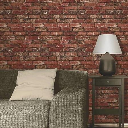 Brewster FD31285 Rustic Brick Wallpaper, Red