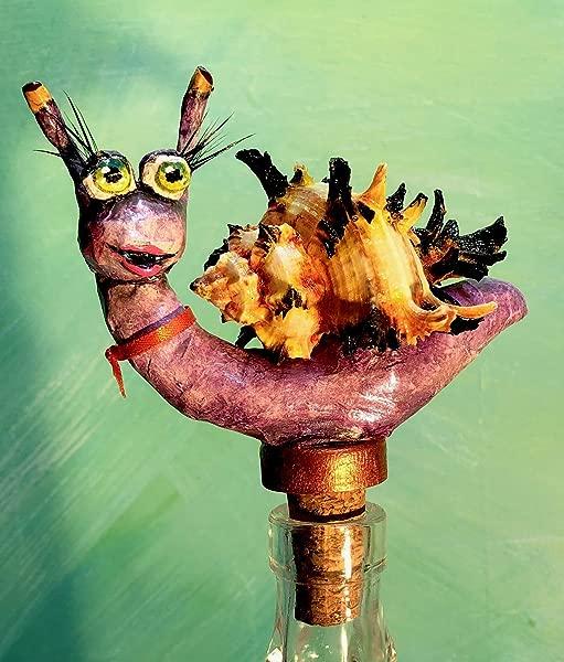 5 Purple Snail With Murex Shell Wine Stopper