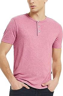 Men's Henley Short Sleeve Shirt 3 Button T Shirts for Men