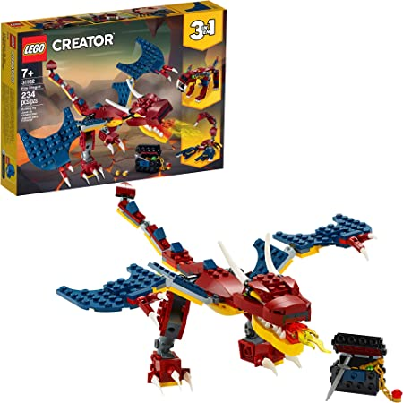 LEGO Creator 3in1 Fire Dragon 31102 Building Kit, Cool Buildable Toy for Kids, New 2020 (234 Pieces)