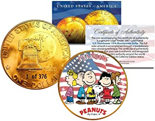 1976 PEANUTS SNOOPY 24K Gold Plated IKE Dollar Each Coin Serial Numbered of 376