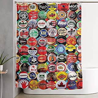 NiYoung Fabric Shower Curtain, World Beer Bottle Caps Set Design Shower Curtains for Bathroom, Heavy Weighted and Waterproof, 70