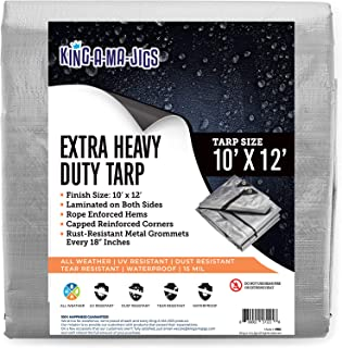 10x12 Super Heavy Duty Tarp, Extra Thick 15 Mil, UV Resistant, Grommets Every 18 Inches - Waterproof Plastic Poly Tarpauli...