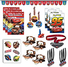 Disney Cars Birthday Party Favors Bundle - 8 Guest - Invites, Thank You Cards, Candle Holder, Temporary Tattoos, Medals, Party Hats, Favor Bags, Banner, Hanging Decorations & Guest of Honor Medal