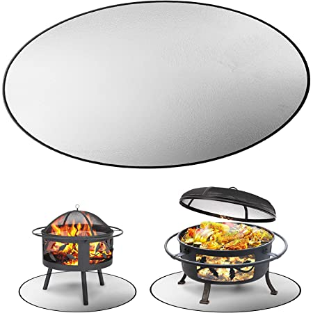 """Biemlerfn Fire Pit Mat 24""""/36"""", Fireproof Pad Deck Protector 3 Layers Fire-Resistant Round Grill Mat for Protecting Wood Deck Porch Lawn Outdoor Patio (24"""")"""