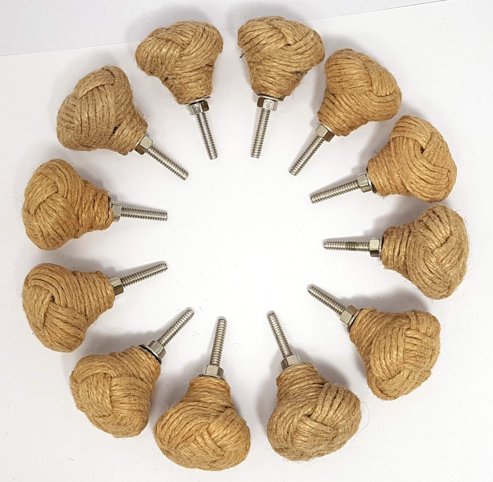 Lote de 12 pomos de cuerda de yute para estantería y cajón (6 pares).: Amazon.es: Hogar