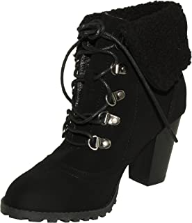 Top Moda Women's Fong-6 Faux Fur Cuff Chunky Heel Lace-up Ankle Booties