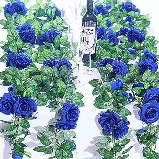 FidgetKute 2X 8Ft Artificial Rose Garland Silk Flower Vine Ivy Wedding Garden String Decor Royal BlueRoyal Blue