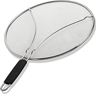 """Grease Splatter Guard, Oil Splatter Screen 13"""" Stain Steel Mesh Silicone Insulated Handle for Cooking Skillet Frying Pan"""