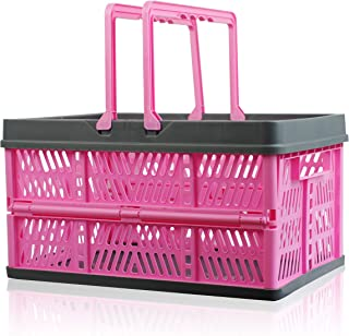 Jusirun Plastic Storage Bin - Stackable Collapsible Storage Container 37 Liter Large, Portable Milk Crate with Tote Handle for Toys Food Clothes Tools in Kitchen Bathroom Garage Outdoor
