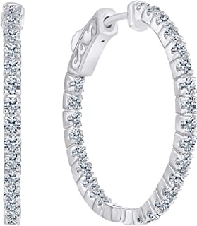 Beverly Hills Jewelers 1.00 Carat T.w. Beautiful Inside-Out Hoop Earring Top Shine, Real Natural G-H color White Diamond, 14k White Gold, with Super Secure lock, US Patent # 7,878,024B2