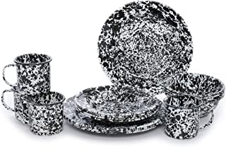 Enamelware Starter Set, 16 piece, Black/White Splatter