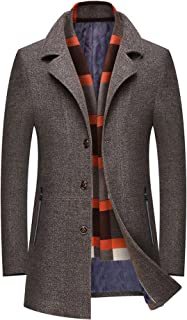 chouyatou Men's Winter Notched Collar Single Breasted Quilted Wool Midi Coats