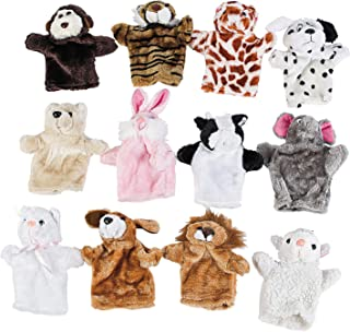 Plush Animal Hand Puppets for Kids (12 Pieces) Zoo and Farm Assortment