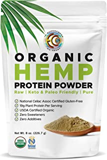 New Vegan Hemp Plant Protein Powder, Certified and Lab Tested 100% Gluten Free, Sugar Free, Raw, Great for Meal Replacemen...