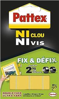 Pattex Ni Clou Ni Vis Fix & Défix, Adhésif blanc surpuissant, Adhésif double face démontable, fixe les objets solidement e...