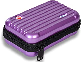 Ornate Make Up Carrying Hard Case for Cosmetics and Toiletry. Water Resistant and Shockproof Zippered Travel Organizer (PURPLE)