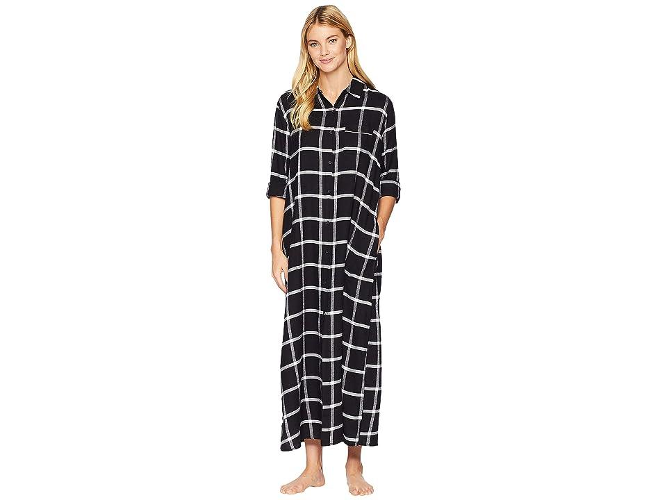 Donna Karan Maxi Flannel Nightshirt (Black Plaid) Women