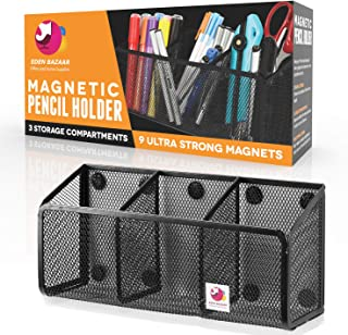 EDENBAZAAR Large Magnetic Pencil and Pen Holder, 3 compartments Magnetic Storage Organizer for Whiteboard, Refrigerator, Locker organizer magnet, Lifetime Replacement