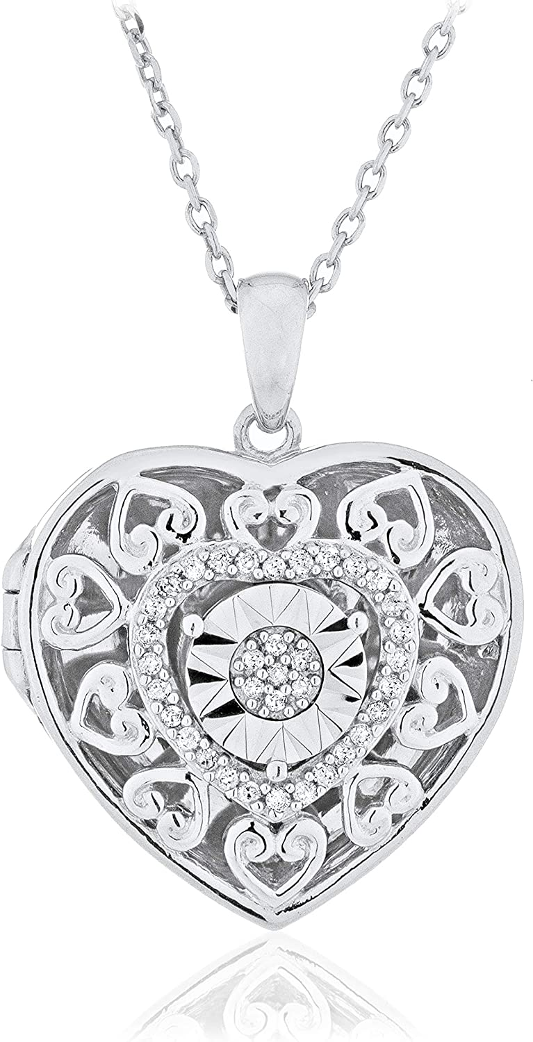 .925 Sterling Silver Los Angeles Mall 1 10 Cttw Max 64% OFF Miracle Plate Filigree Diamond He