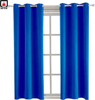 BEGOODTEX Flame Retardant Blackout Curtains, Royal Blue, 42W by 84L inch, 1 Panel