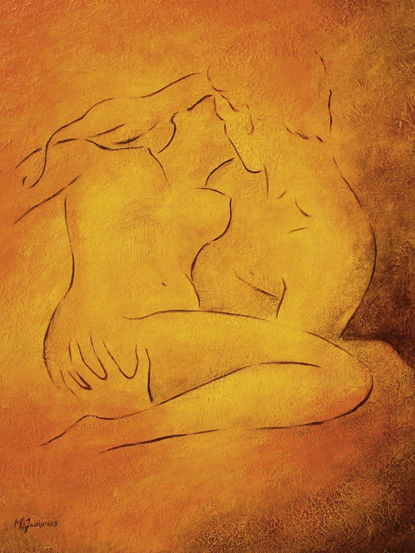 Artland Qualitätsbilder I Bild auf auf auf Leinwand Leinwandbilder Wandbilder 45 x 60 cm Liebe Erotik Paar Malerei Orange C0DG Flammende Leidenschaft B07F6BZ1TH c6761f