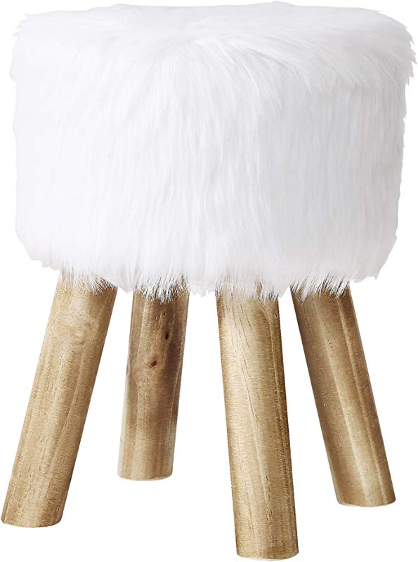 Poly And Bark Yvette Faux Fur Stool White