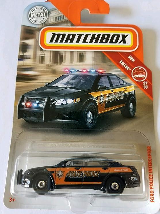 2013 Matchbox FORD POLICE INTERCEPTOR Black 58//120 LITTLE BEND Heroic Rescue