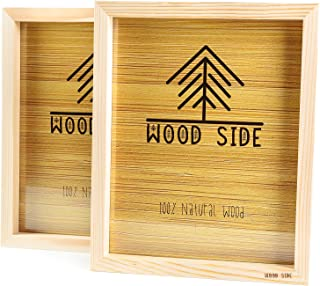 Wooden Picture frames 8x10 Inch with REAL GLASS - set of 2 - 100% eco unfinished wood - thick borders - natural wood color for Wall mounting photo frame