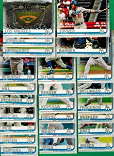 Los Angeles Dodgers 2019 Topps Complete Mint Hand Collated 24 Card Team Set with Clayton Kershaw and Cody Bellinger Plus an Alex Vertugo Future Stars Card and Others