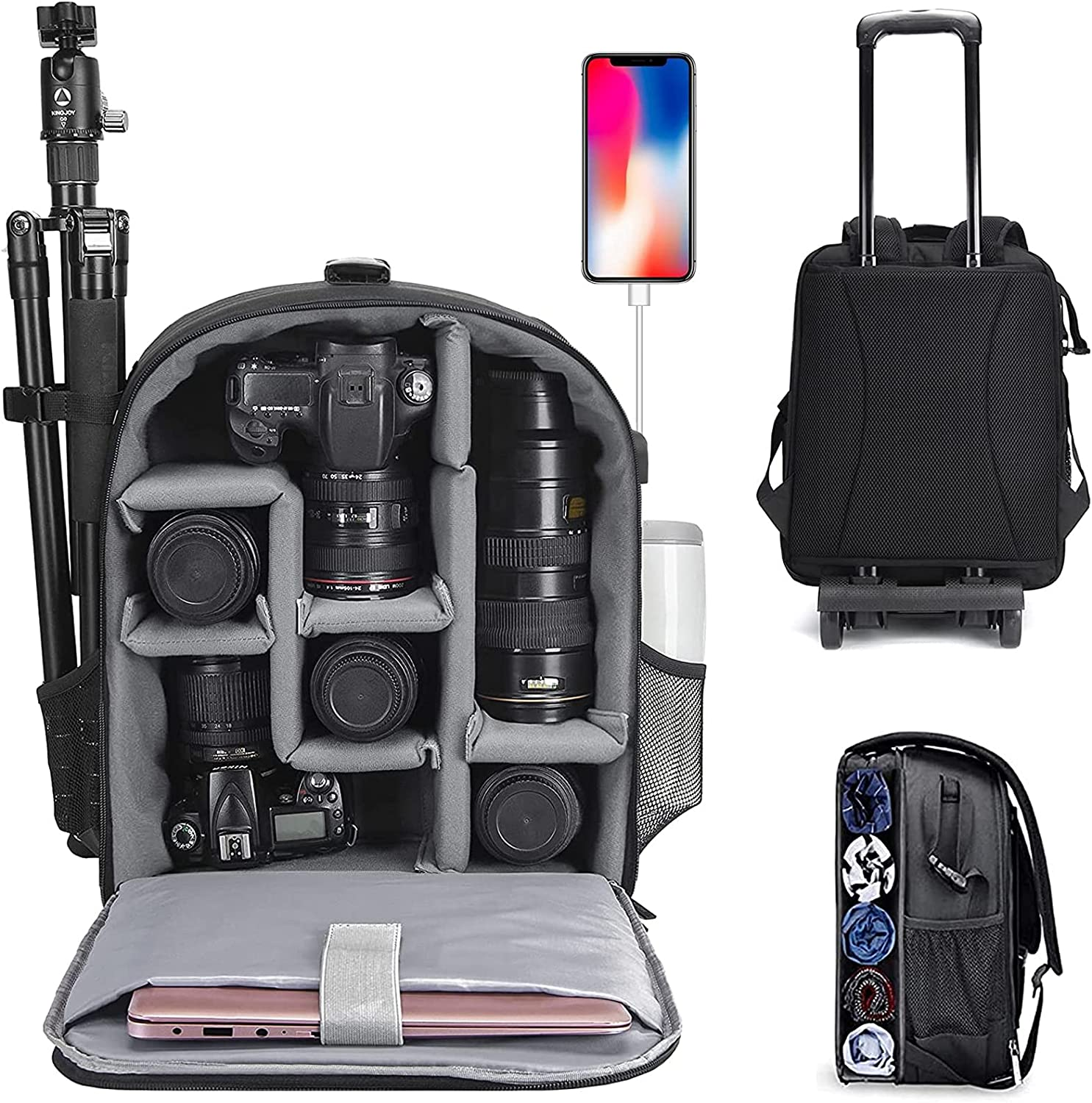 CADeN Camera Backpack Trolley Case with 15.6 inch Laptop Compartment Waterproof Large, Rolling Camera Bag Compatible for Sony Canon Nikon DSLR/SLR Mirrorless Cameras