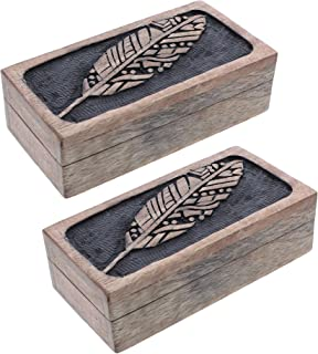 Wood Jewelry Box with Leaf Shape - Set of 2