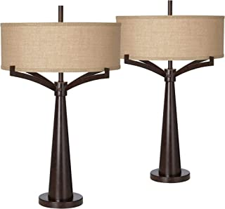 Tremont Mid Century Modern Table Lamps Set of 2 Rich Bronze Iron Burlap Fabric Drum Shade for Living Room Bedroom - Franklin Iron Works