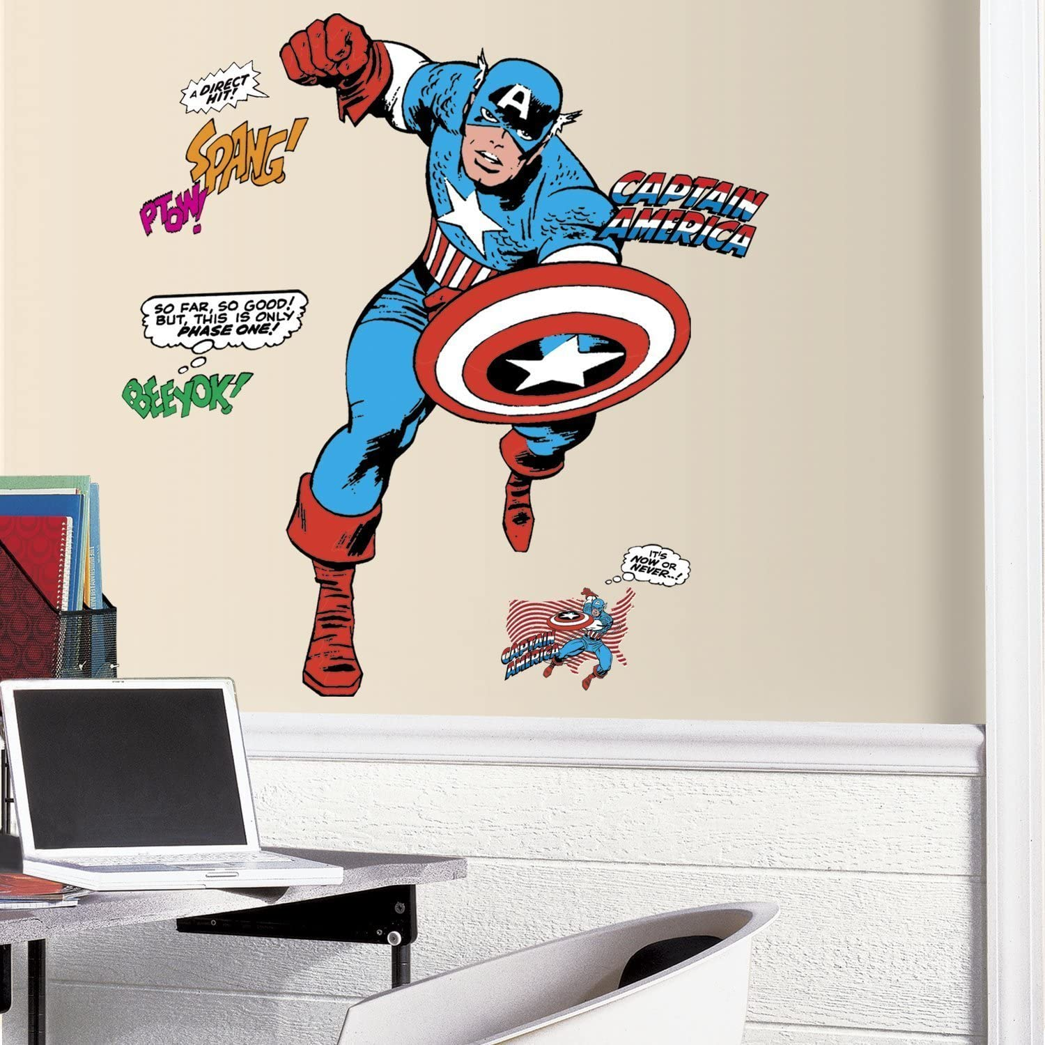 RoomMates RMK3254GM Classic Captain America Comic Peel and Stick Giant Wall Decals