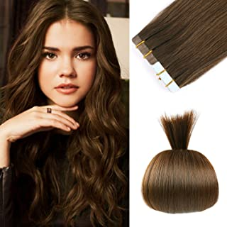 18 inches Remy Tape in Hair Extensions Human Hair Full Cuticle Virgin Hair Straight 50g 20pcs Color No.4 Medium Brown