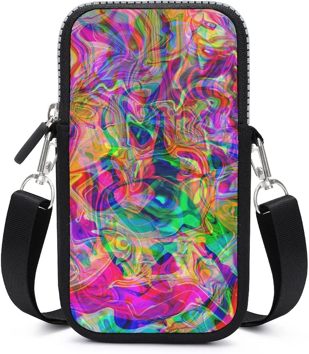 SWEET TANG Phone Hip Pop Multifunctional Psychedelic Trippy Colorful Surreal Abstract Art Holder - for 6 Inch Cell Phones with Adjustable Shoulder Strap, Storage Organizer Wristlet Convertible Bag