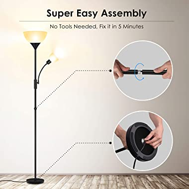 Floor Lamp, Standing Lamp, 9W LED Torchiere Floor Lamp with 4W Adjustable Reading Lamp, 3000K Energy-Saving LED Bulbs, 3 Way