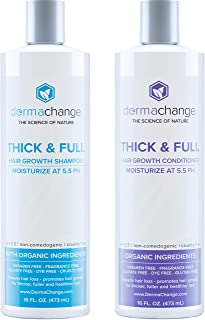 Organic Vegan Hair Growth Shampoo and Conditioner Set - Natural Hair Regrowth with Vitamins - Hair Loss & Thinning Products - Curly or Color Treated Hair - For Men and Women - Sulfate Free (16oz)