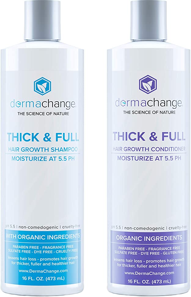 Organic Vegan Natural Hair Growth Shampoo and Conditioner Set - Sulfate Free - Hair Regrowth With Vitamins - Hair Loss Products - Color Treated or Curly Hair - For Women and Men (16oz) - Made in USA