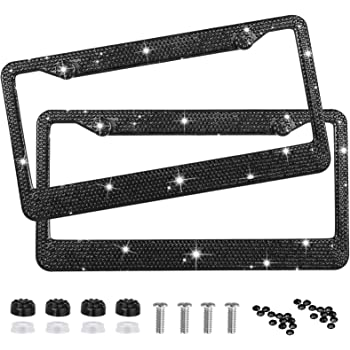 Pair license plate frame for women 2 pack bouns matching screws Diamond Crystal